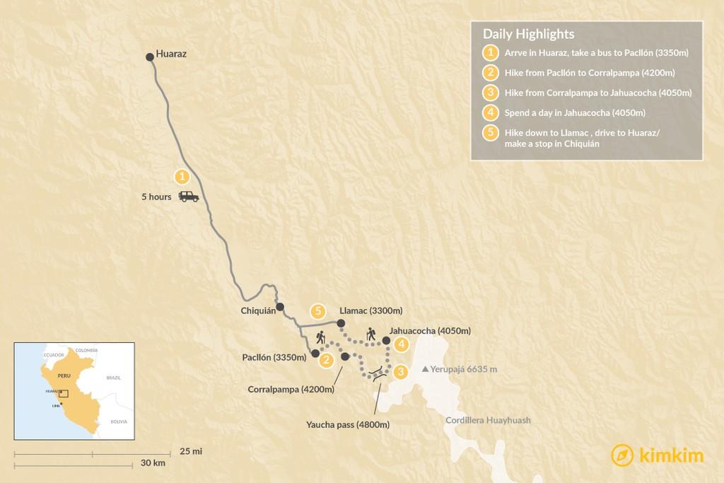 Map of Cordillera Huayhuash - 9 Days