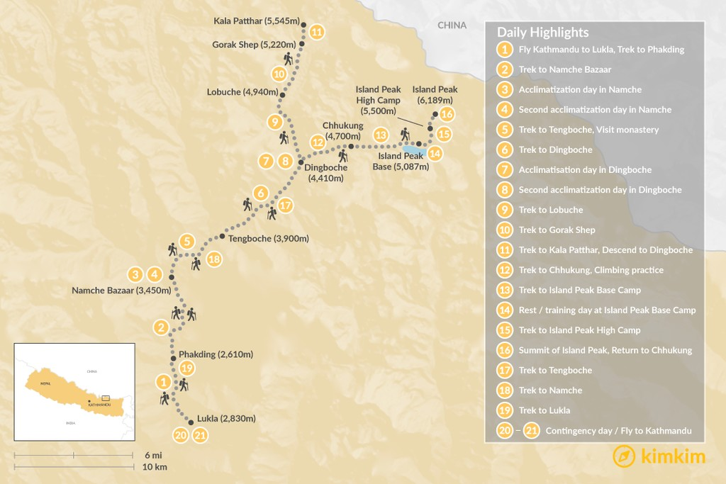 Map of Climb Island Peak: Nepal's Most Popular Trekking Peak - 24 Days