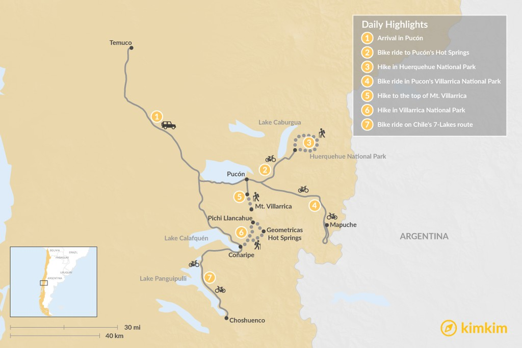 Map of Bike & Hike the Backroads of Chile near Pucón - 9 Days