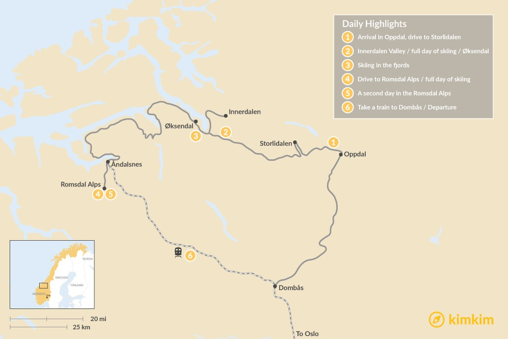 Map of Norway Fjords Ultimate Ski Adventure: 6-Day Itinerary