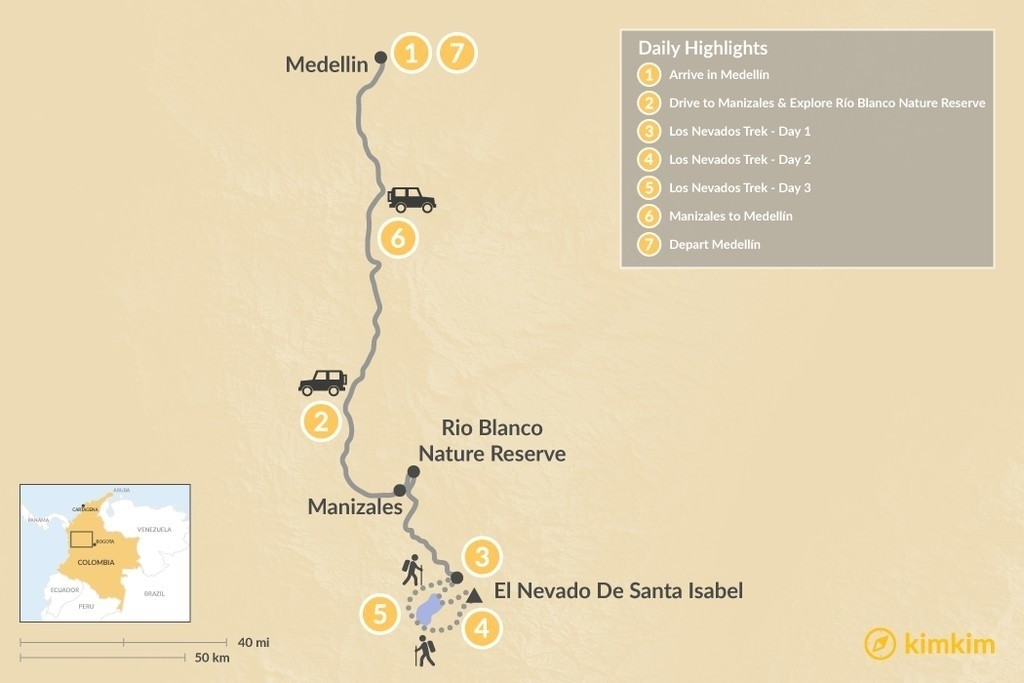 Map of Medellín & Los Nevados Trek - 7 Days