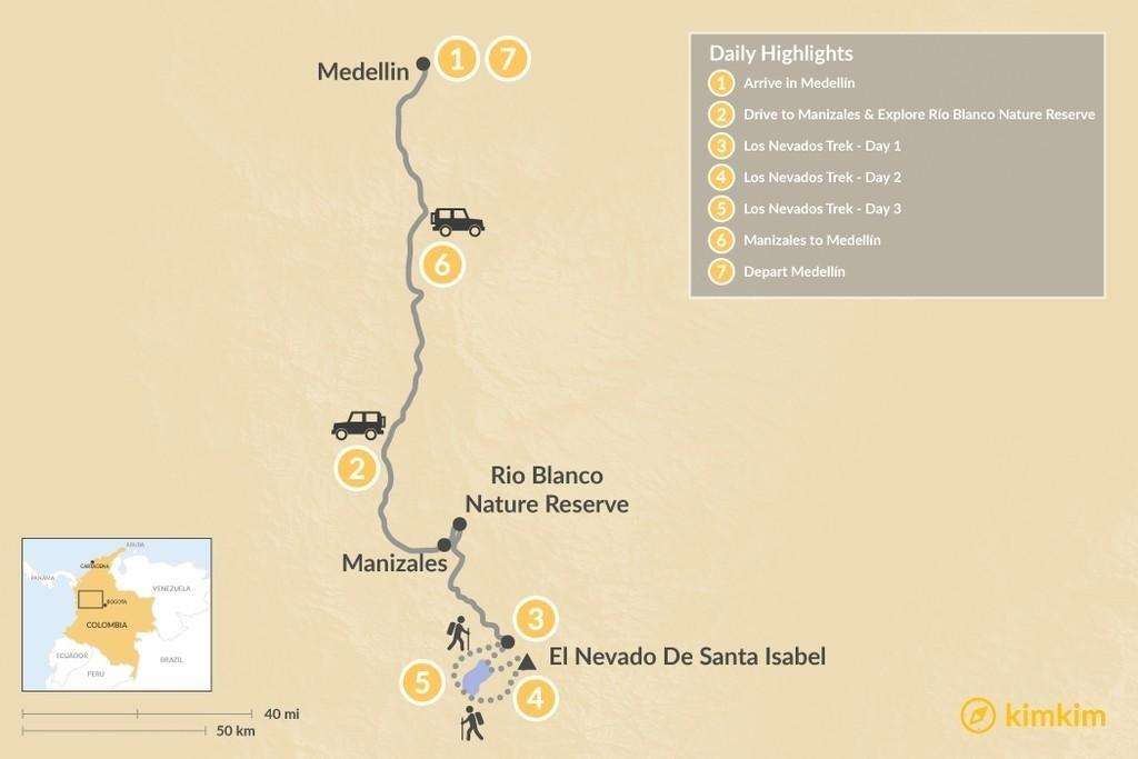 Map of Medellín & Los Nevados Trek - 7 Days