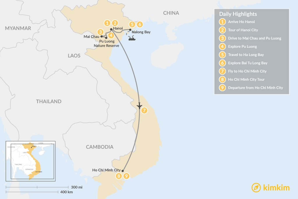 Map of Highlights of Vietnam - 9 Days