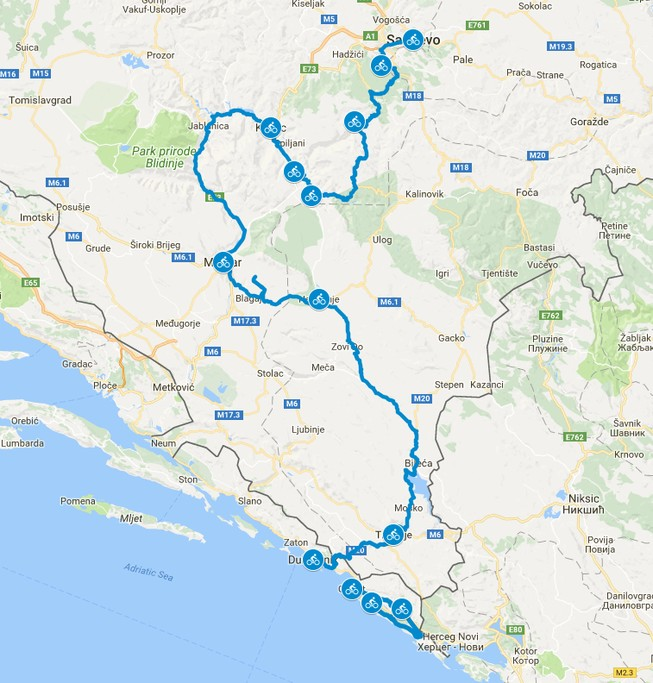 Map of Crossing the Dinaric Alps by Bike - 8 Days