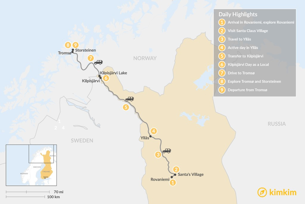 Map of Northern Lights Road Trip from Rovaniemi to Tromsø : 9 Days
