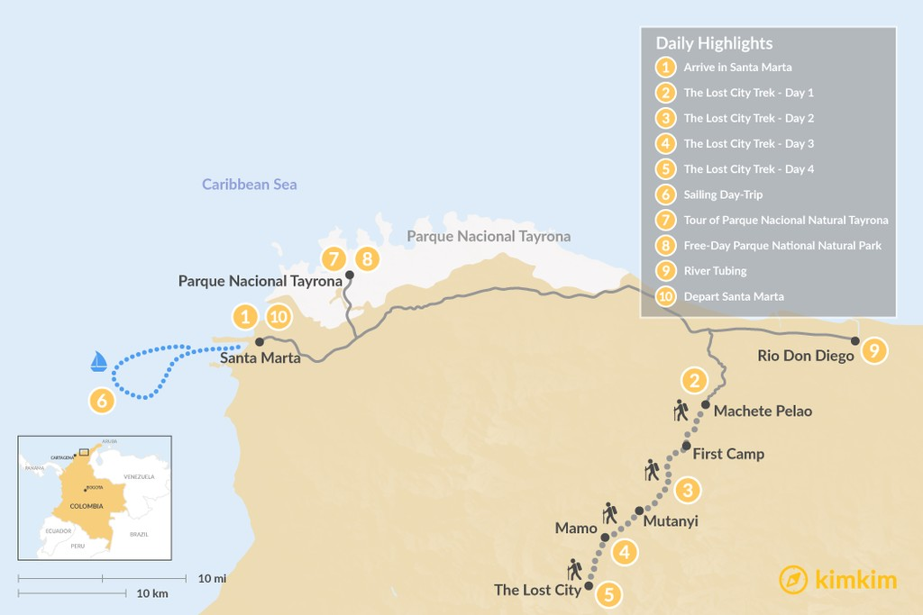 Map of The Lost City & Tayrona Park Adventure - 10 Days