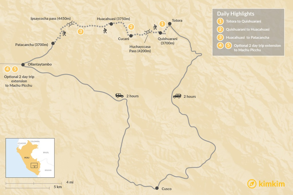 Map of The Lares Trek - 6 Days