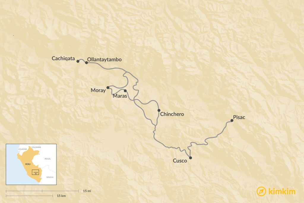 Map of Top Day Trips From Cusco