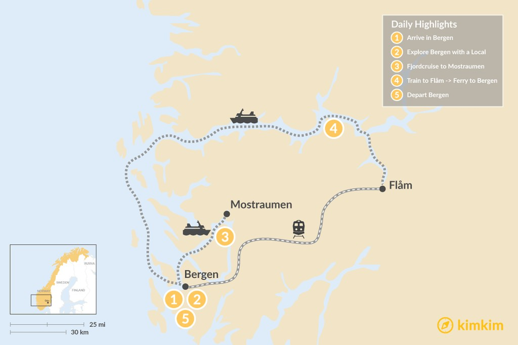 Map of Explore Bergen, Fjords & Waterfalls - 5 Days