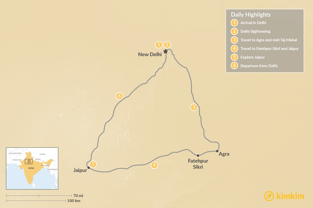 Map of Golden Triangle Tour - 6 Days