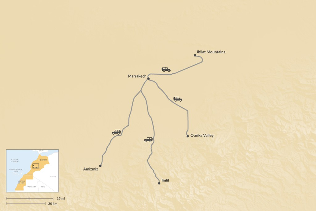Map of 4 Great Hiking Regions Near Marrakech