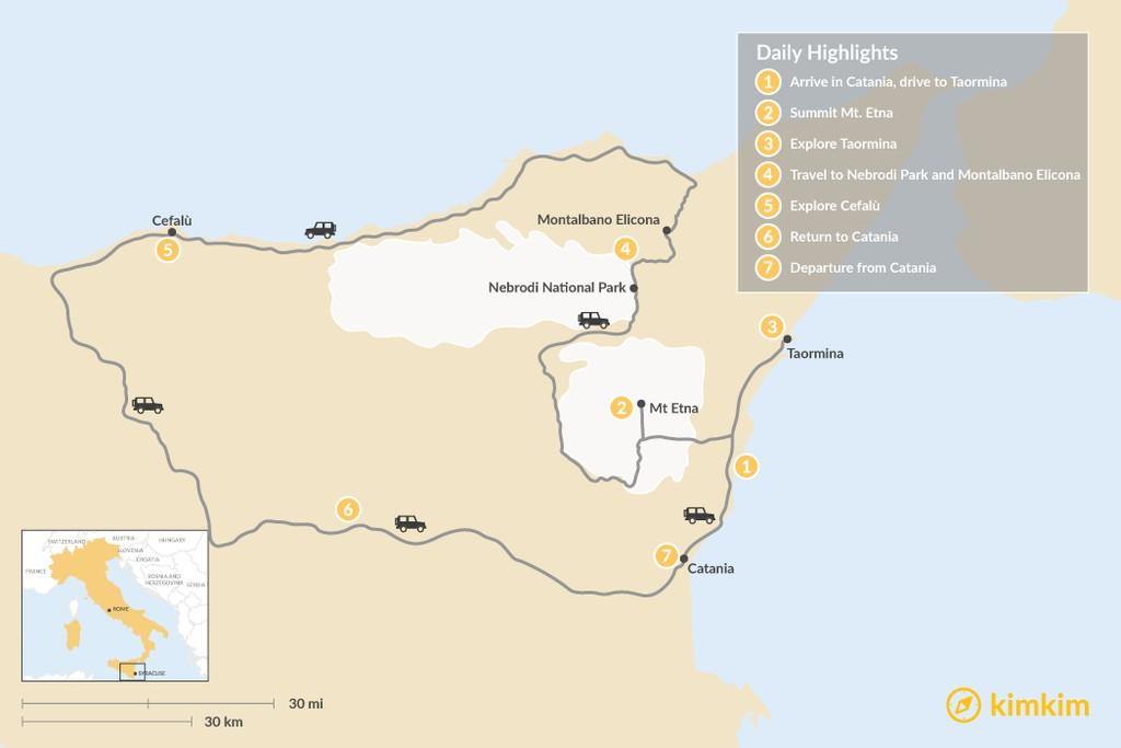 Map of 7 Days in Sicily: Mount Etna, the Ionian Coast, and Cefalú