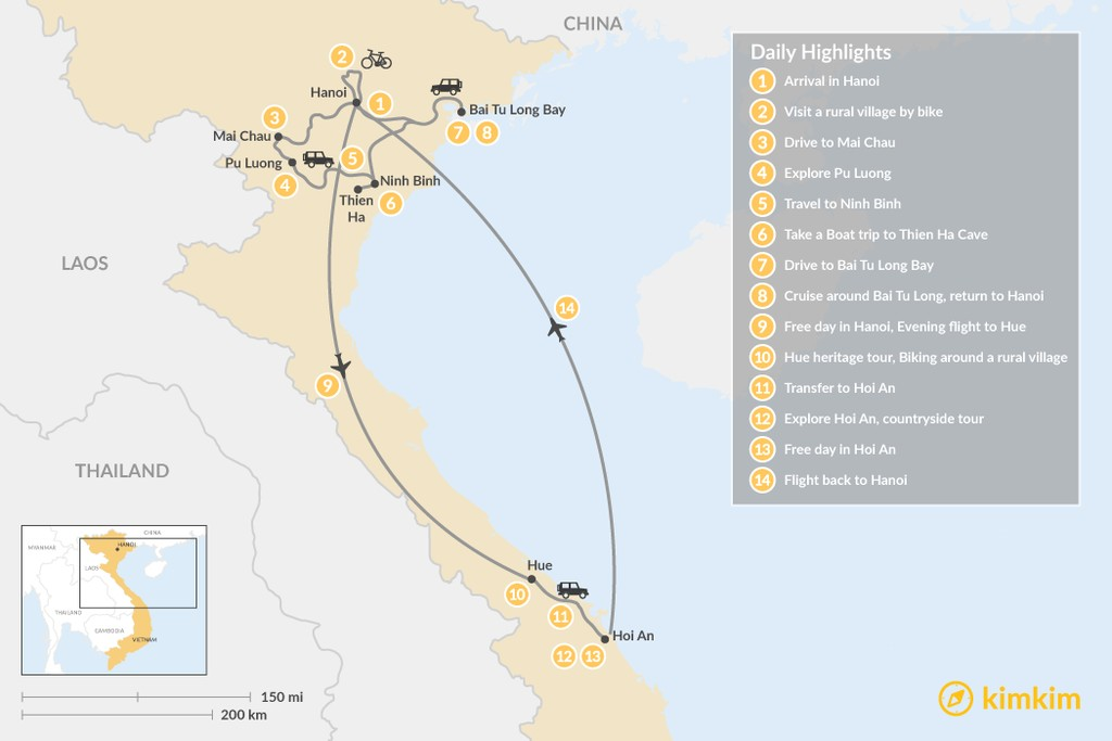 Map of Impressions of Vietnam - 14 Days
