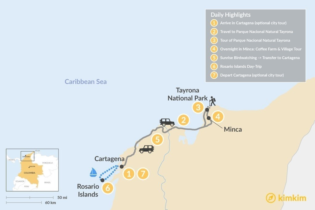 Map of Colombia's Caribbean Coast  - 7 Days