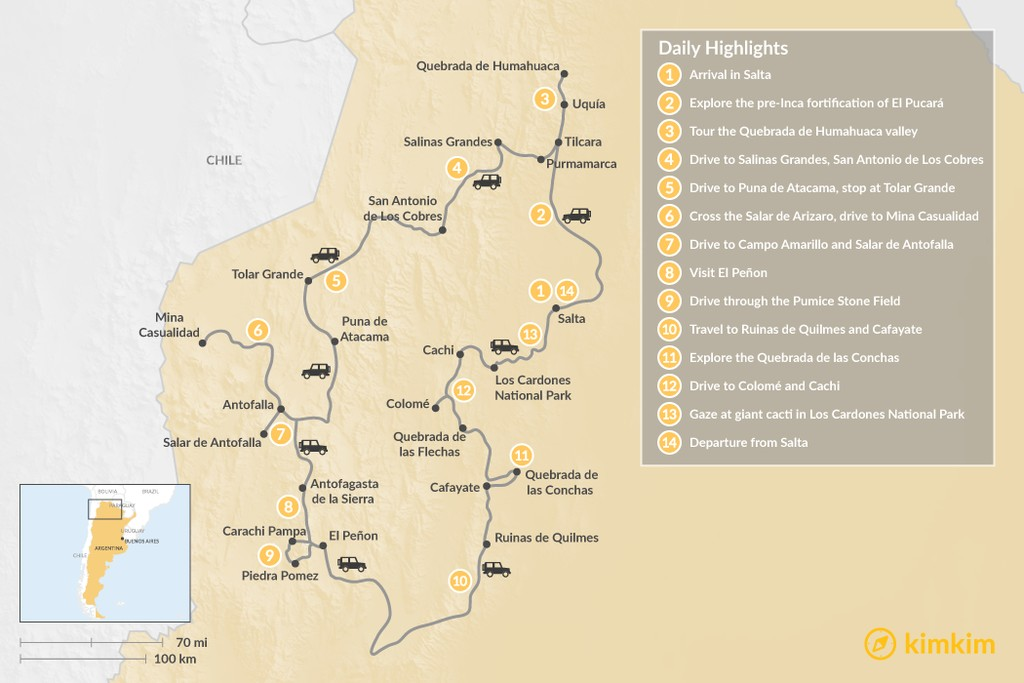 Map of The Best of Northern Argentina - 14 Days