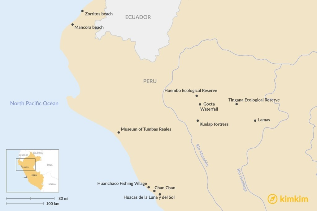 Map of Best Places To Visit in Northern Peru