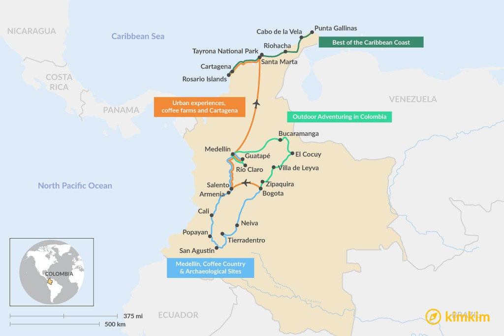 Map of Great Itineraries for Two Weeks in Colombia