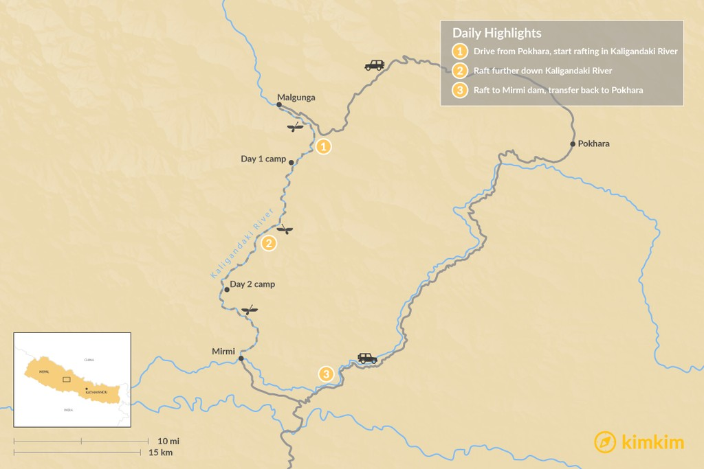 Map of Kali Gandaki River Rafting - 6 Days