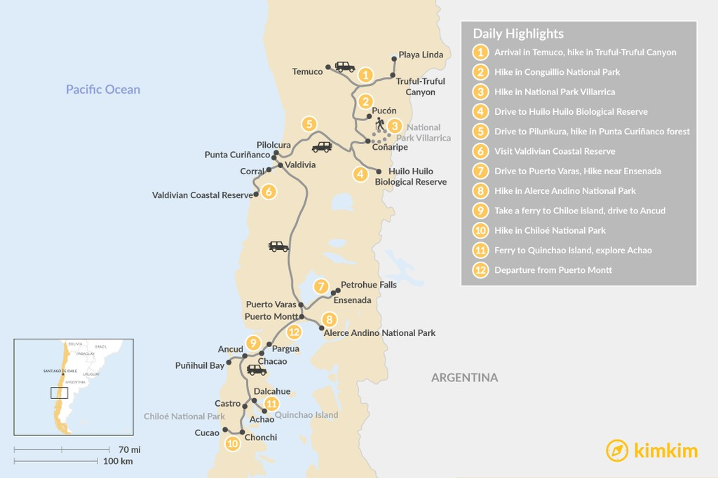 Map of Self-Guided Tour in Chile's Lake and Volcano District - 12 Days