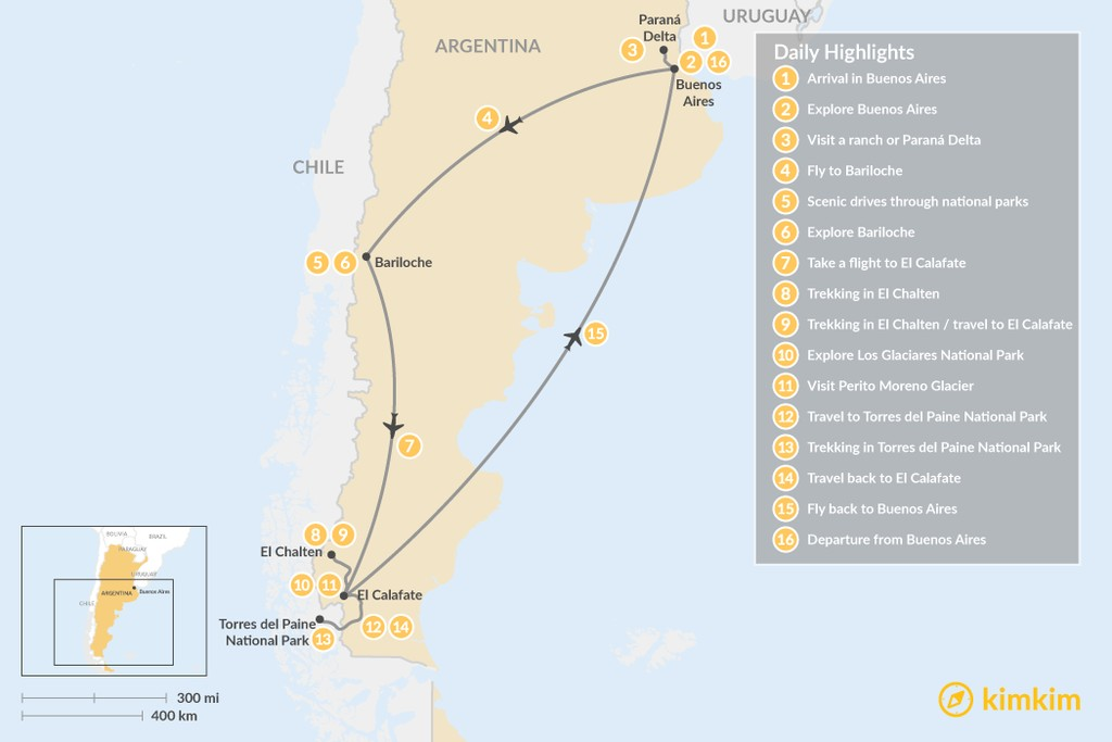 Map of Self-Drive: Buenos Aires to Patagonia - 16 Days
