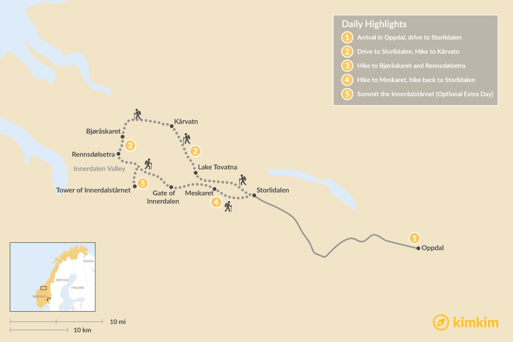 Map of The Trollheimen Ultimate Hiking Experience: 4 or 5-Day Itinerary
