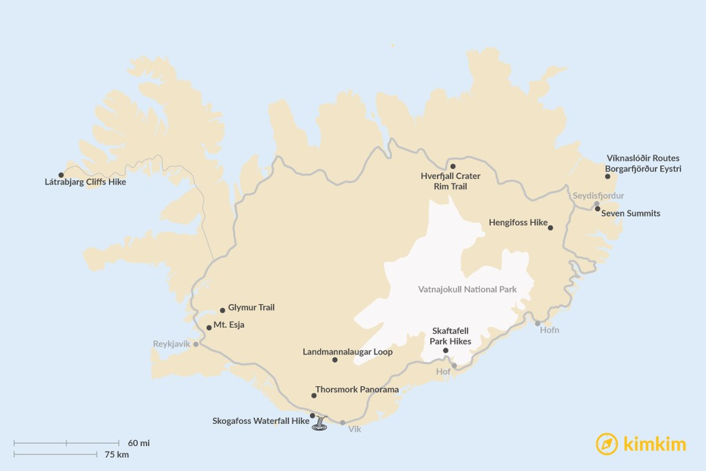 Map of Best Short Hikes in Iceland of 4 Hours or Less