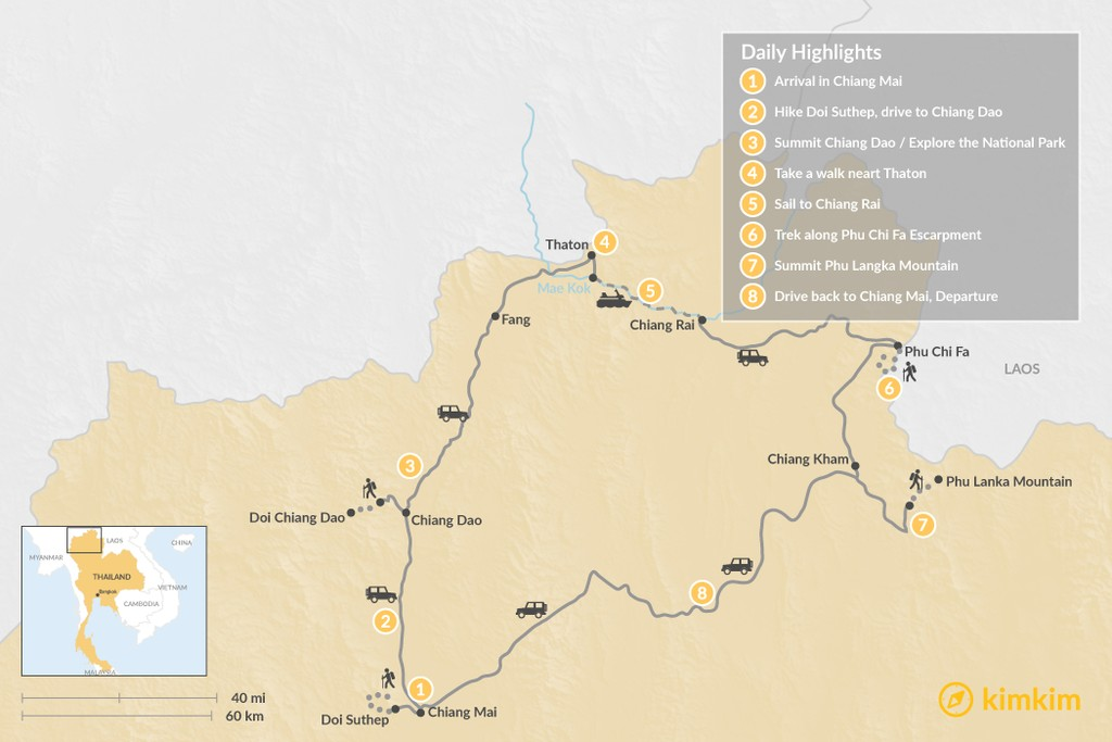 Map of Climb the Peaks of Northern Thailand - 8 Days