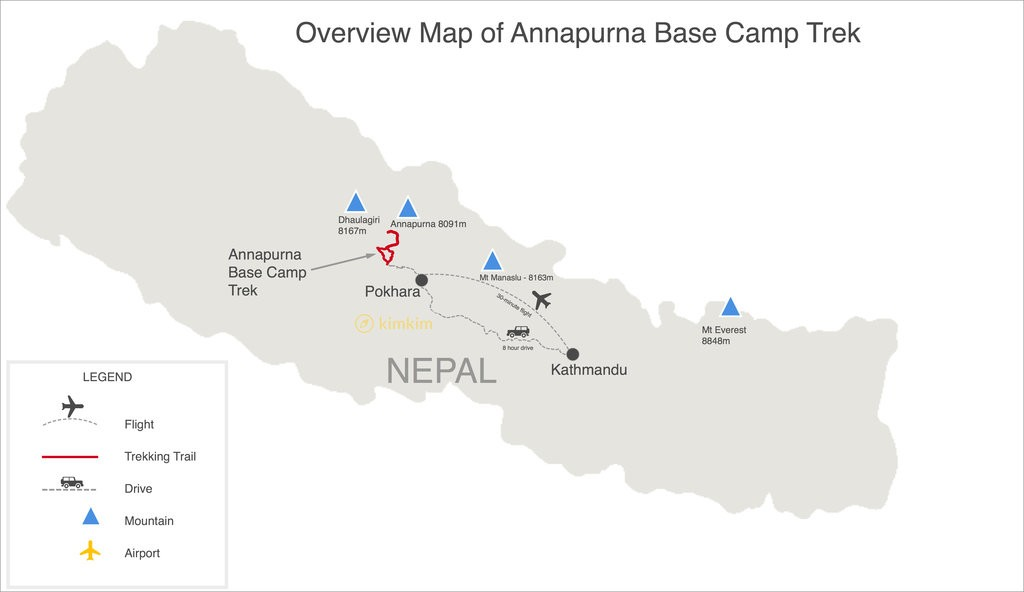 Map of Annapurna Base Camp Trek - 12 Days