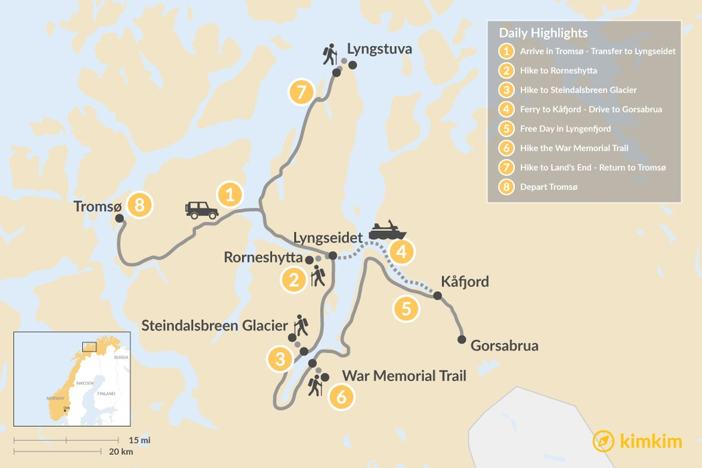 Map of Northern Norway Lyngenfjord Trek - 8 Days