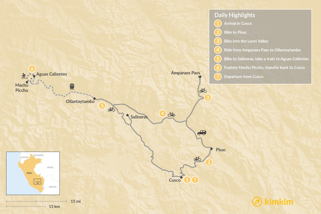 Map of Sacred Valley & Machu Picchu By Bike - 8 Days