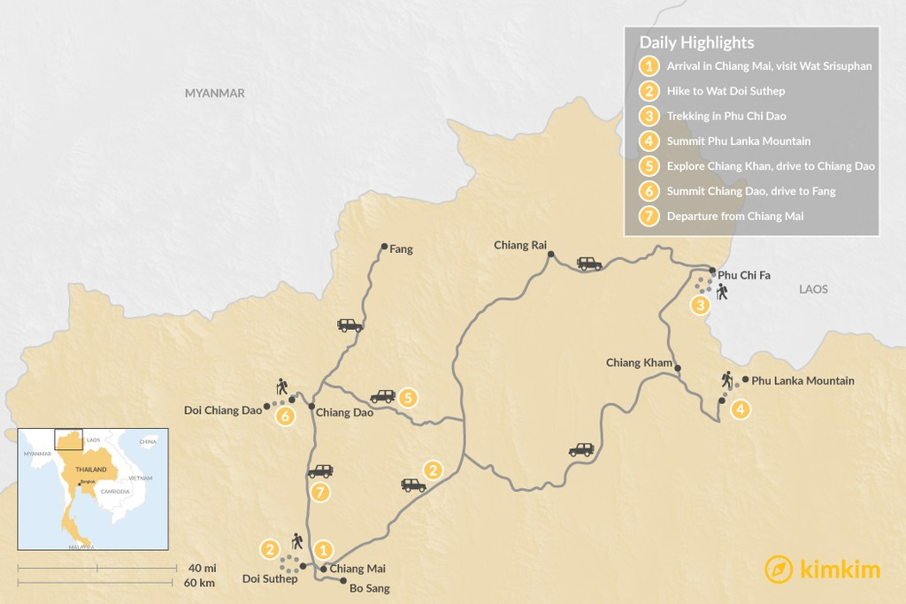 Map of Highlights of Northern Thailand Trekking: 7 Days