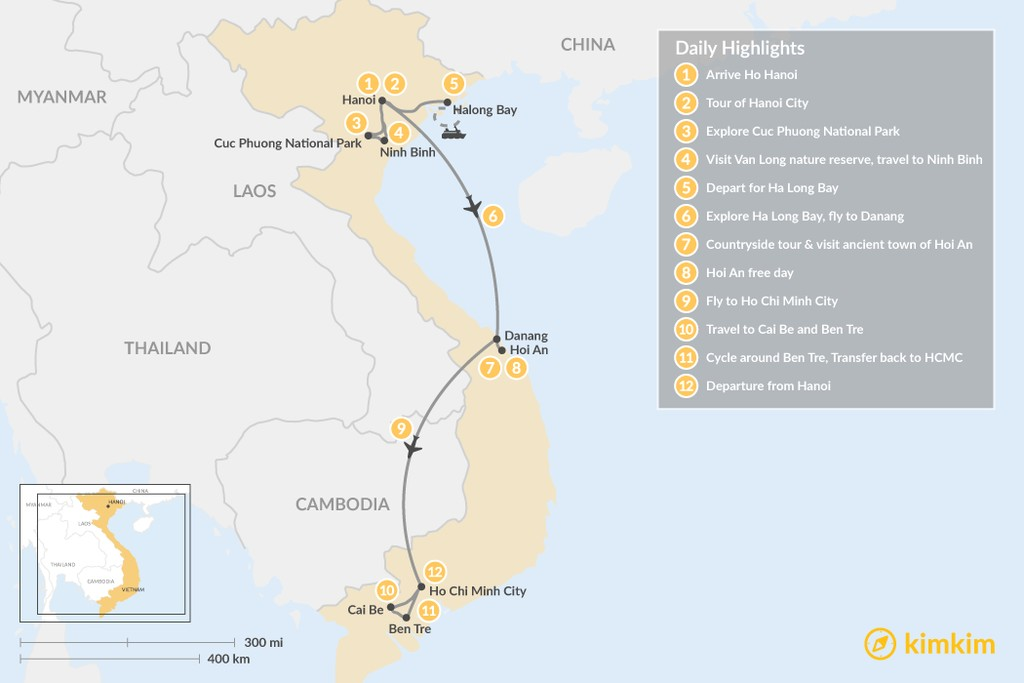 Map of Highlights of Vietnam - 12 Days