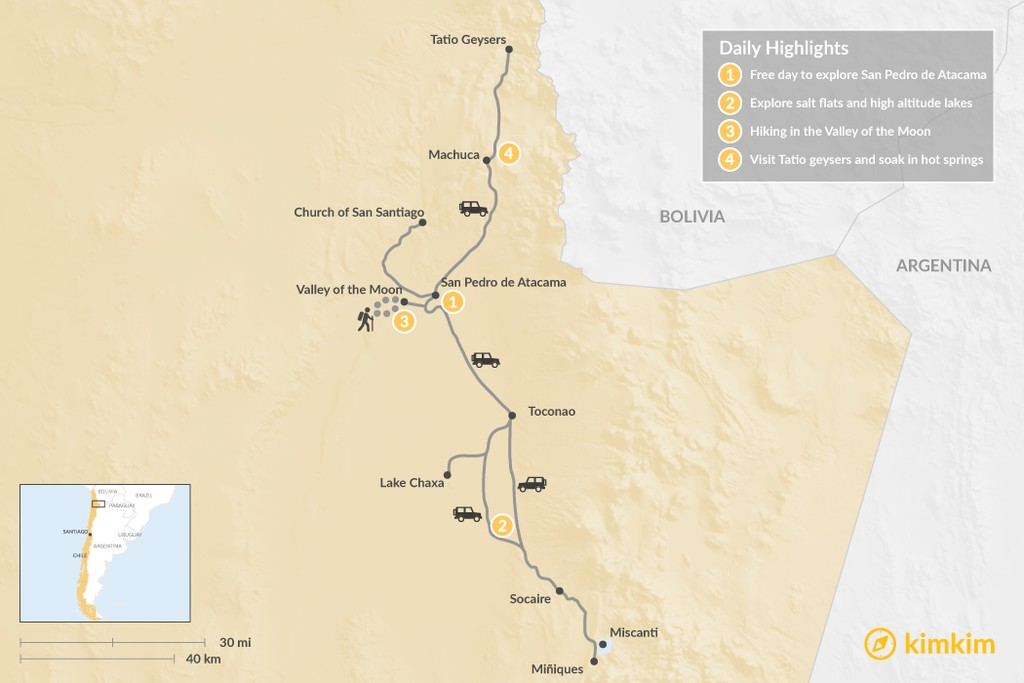 Map of Discover the Atacama Desert - 4 Days