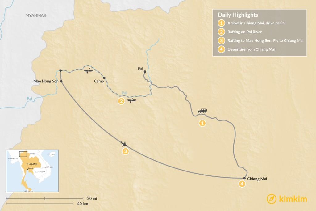 Map of Thrills of Northern Thailand - 4 Days