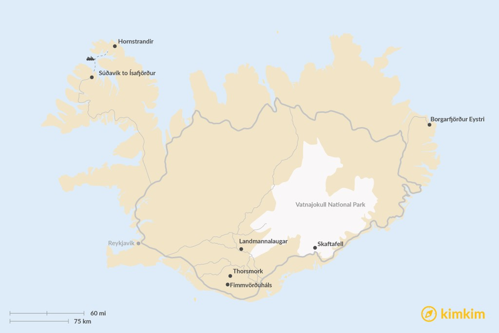 Map of Best Day Hikes in Iceland