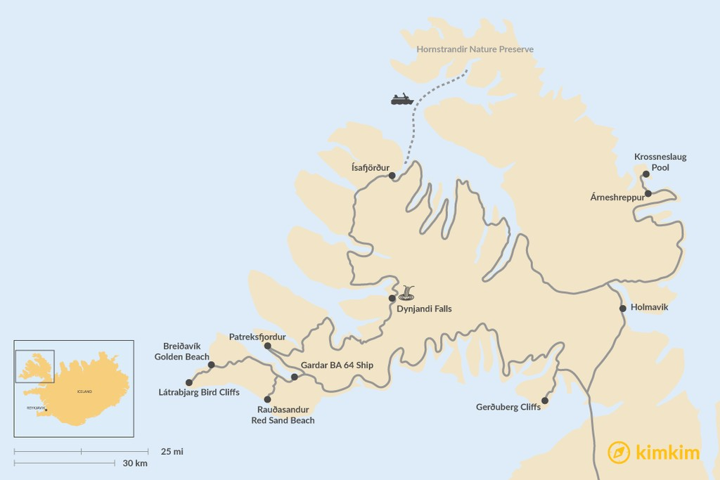 Map of Best Sights of the Westfjords: 2-4 day Driving Tour