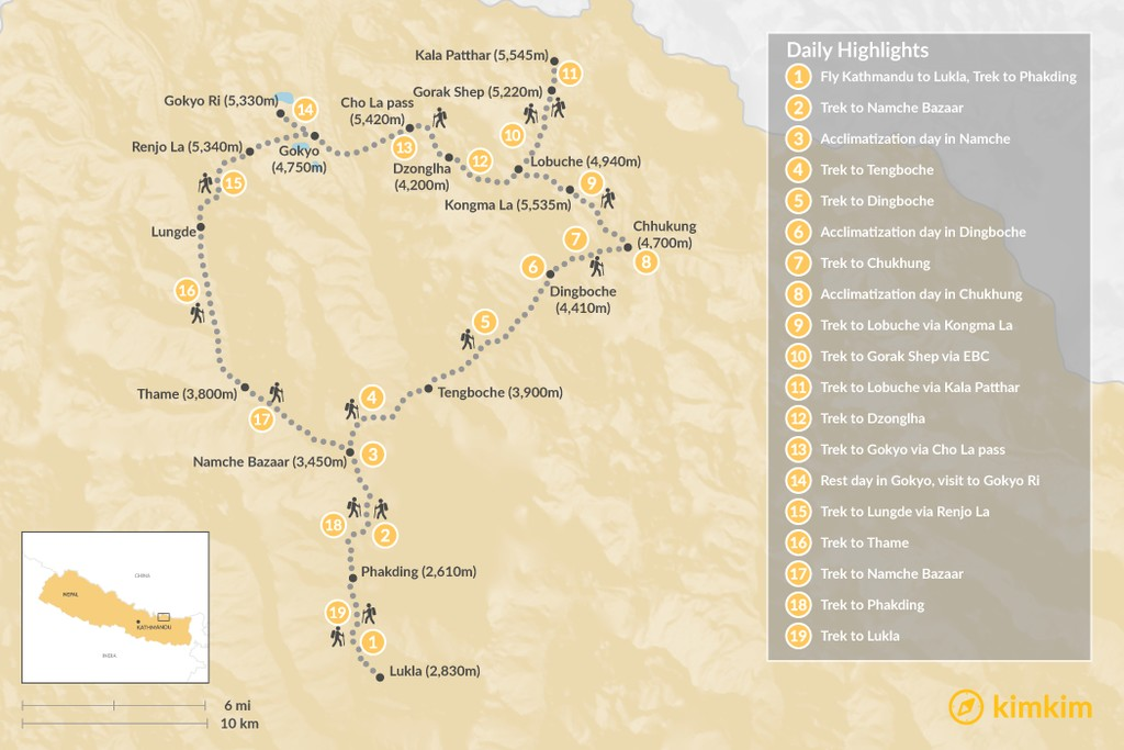 Map of Three Passes Trek: Ultimate Trek in the Everest Region - 22 Days