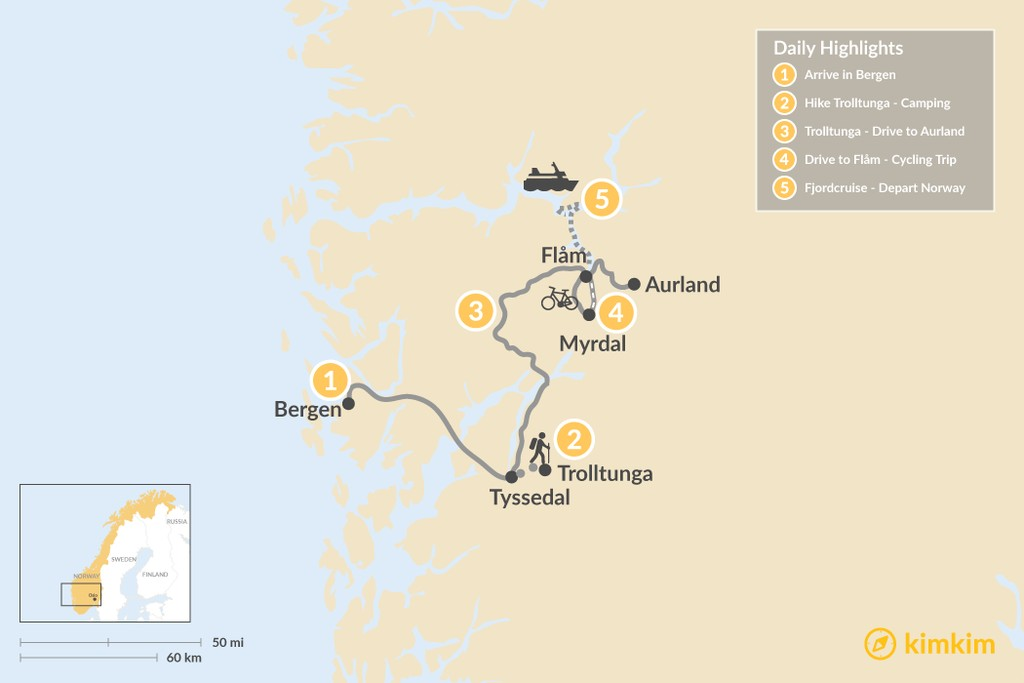Map of Nordic Adventure for Outdoor Lovers - 5 Days