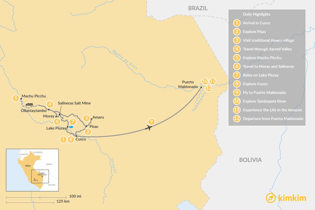 Map of Peru Family Tour - 13 Days