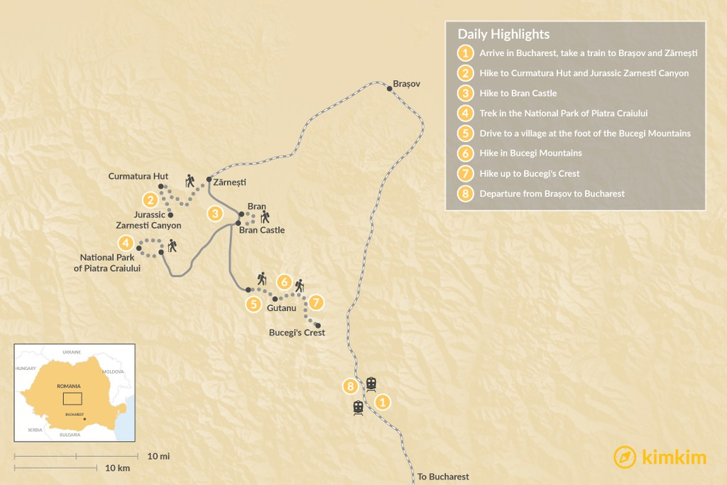 Map of Village to Village Walk in the Carpathian Mountains: 8 Days