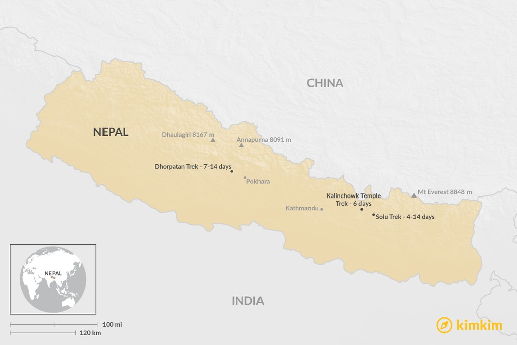 Map of Three Great Short Treks in Nepal