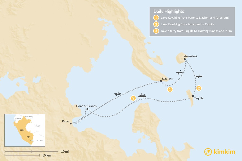 Map of Lake Titicaca Kayaking Adventure - 3 Days
