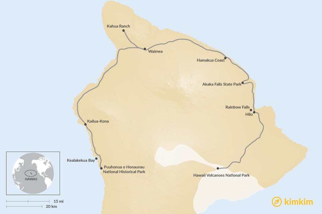 Map of Top 7 Things To Do On The Big Island