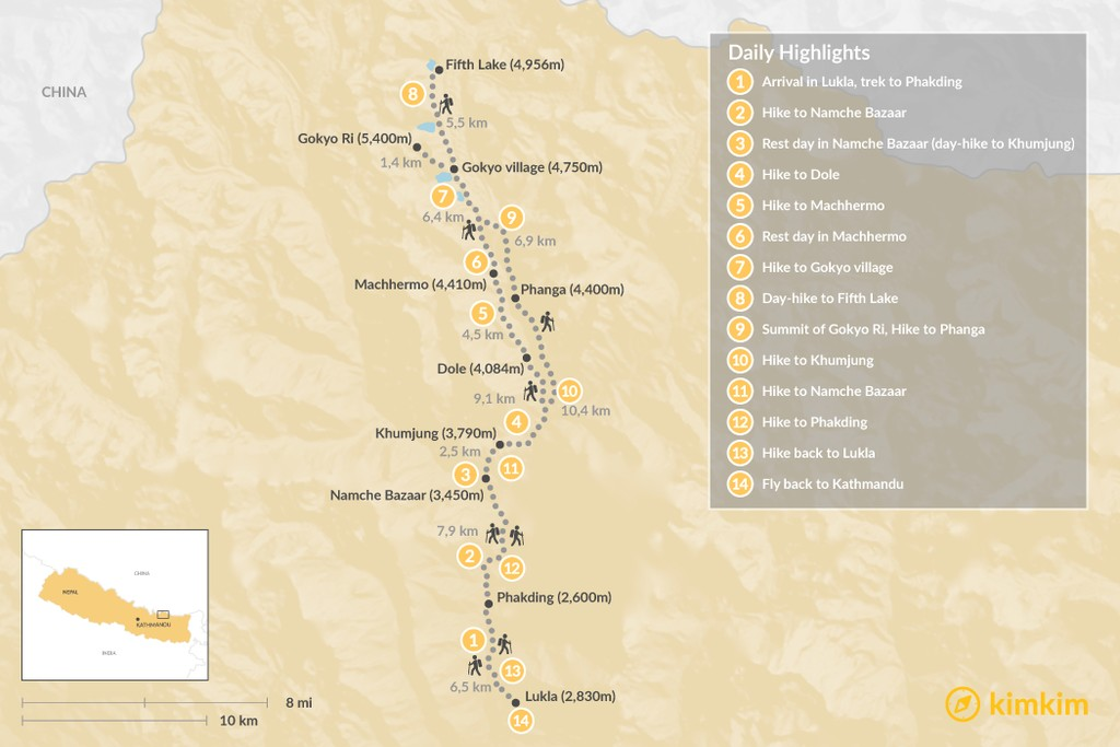 Map of Gokyo Lakes Trek - 14 Days