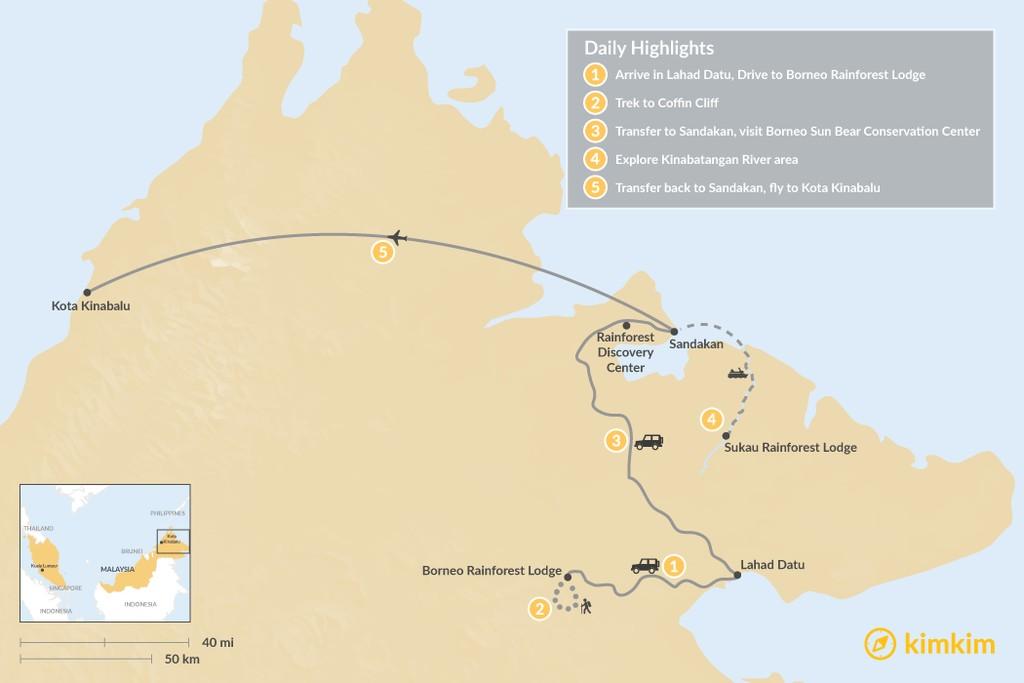 Map of Borneo Eastern Wildlife Adventure - 5 Days