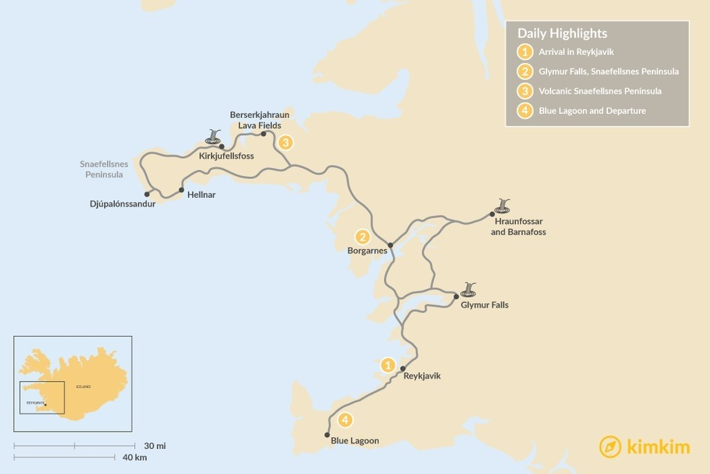 Map of Reykjavik and the Snaefellsnes Peninsula - 4 Days
