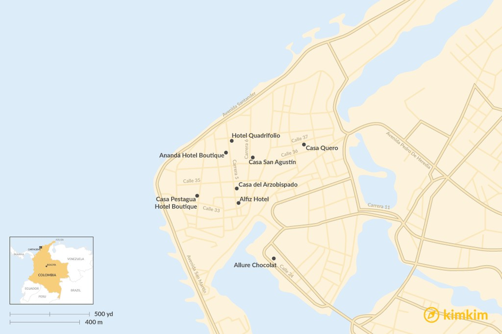 Map of Where to Stay in Cartagena - The Best Boutique Hotels