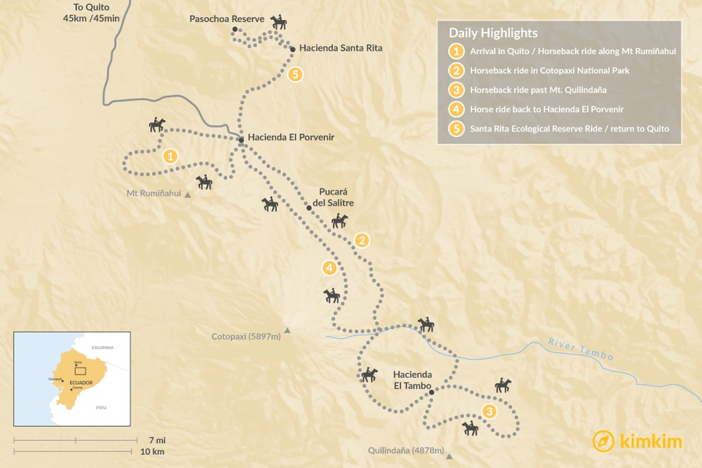 Map of Cotopaxi Volcano By Horseback - 5 Days
