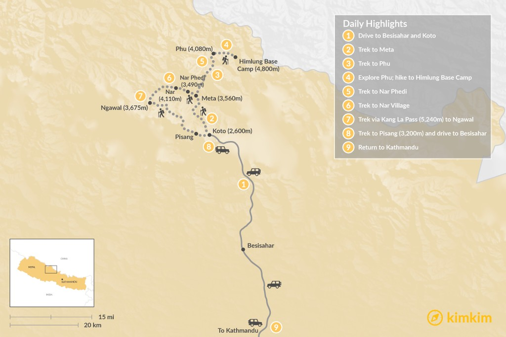 Map of Nar Phu Valley Trek - 12 Days