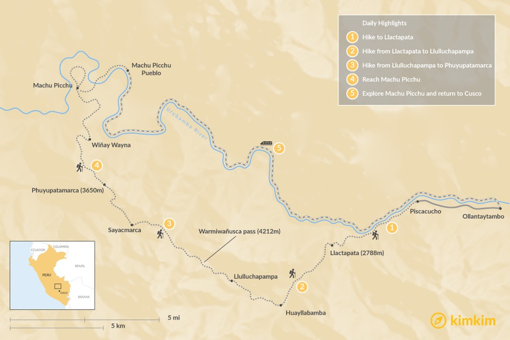 Map of Inca Trail to Machu Picchu - 8 Days